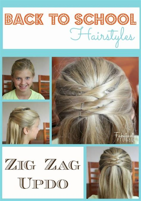 extremely easy hairstyles for school back to school hairstyles zig zag updo updo love this