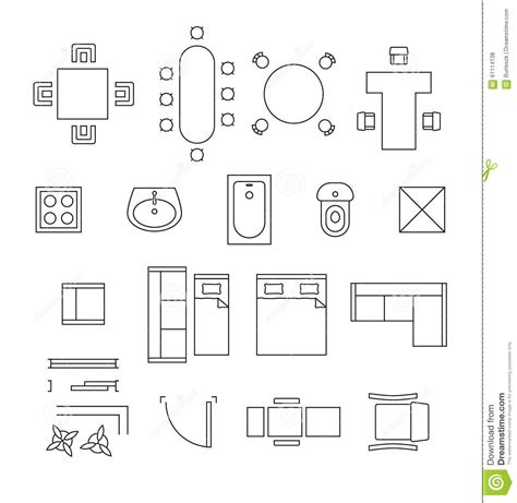 symbols on floor plans furniture linear vector symbols floor plan icons stock