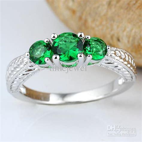 3 green emerald anniversary finger silver
