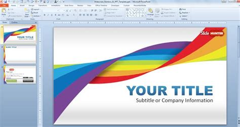 Slide Templates For Powerpoint 2010 by Widescreen Rainbow Template For Powerpoint Presentations