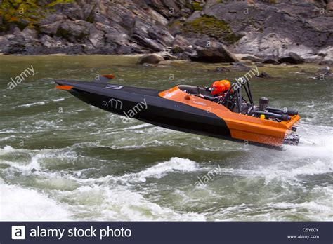 jet boat racing salmon river jet boat race riggins idaho stock photo