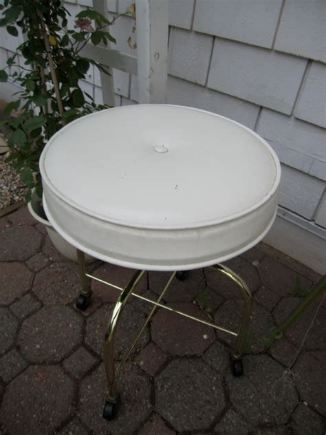vintage vanity stool white vinyl rolling stool with by