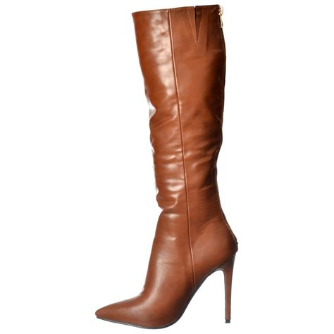 knee high brown boots with heel womens stiletto mid heel pointed toe knee high boots
