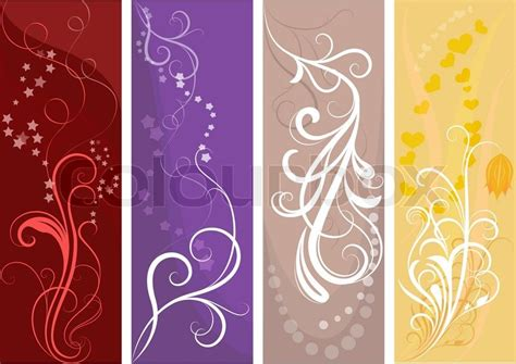 flower design vertical color vertical vector banners with floral design stock