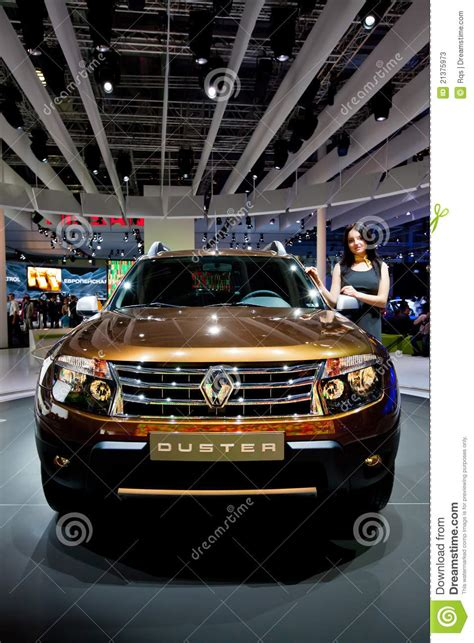 jeep renault orange jeep car renault duster editorial stock photo