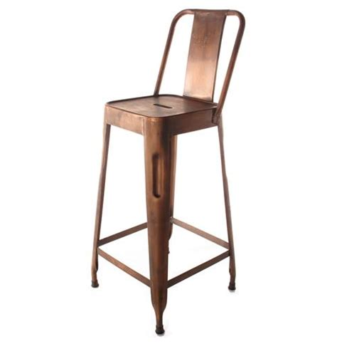 Industrial Bar Stool With Back Ironworks Industrial Loft Aged Copper Counter Stool With Back Ebay