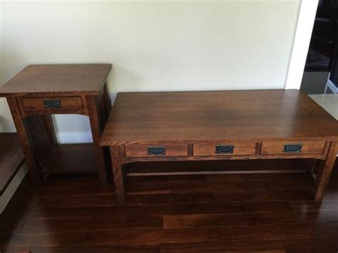 mission style coffee table and end table oak bay