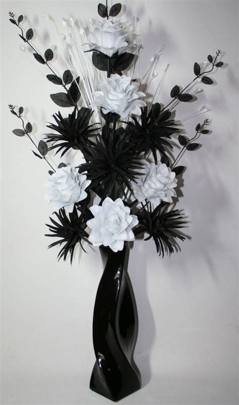 Black Vase With Artificial Flowers by Artificial Silk Flower Arrangement Black White In Large Black Vase 85cm High Ebay