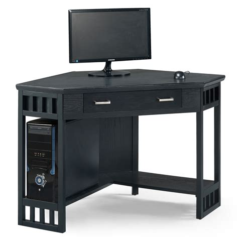 black computer corner desk home office black corner computer writing desk leick