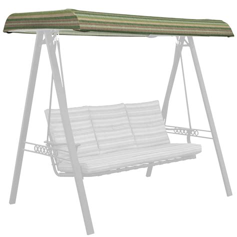 Patio Swing Green Shop Allen Roth Stripe Green Porch Swing Canopy At Lowes