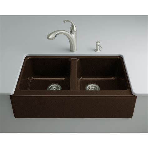 Shop Kohler Hawthorne 22 125 In X 33 In Black N Tan Double Cast Iron Kitchen Sinks