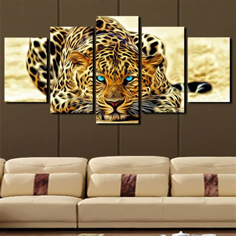 wall painting home decor 5 plane abstract leopards modern home decor wall canvas animal picture print painting set of