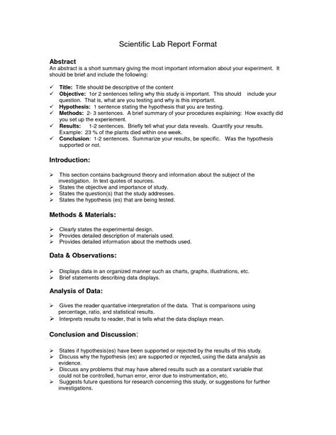 science experiment report template lab report format doc environmental science lessons