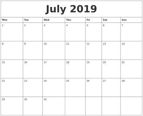 july monthly printable calendar