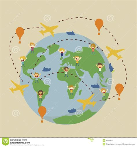 vector world travel map  airplanes stock vector