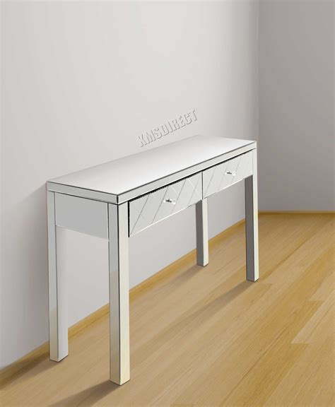 mirrored console table with drawers westwood mirrored furniture glass dressing table with