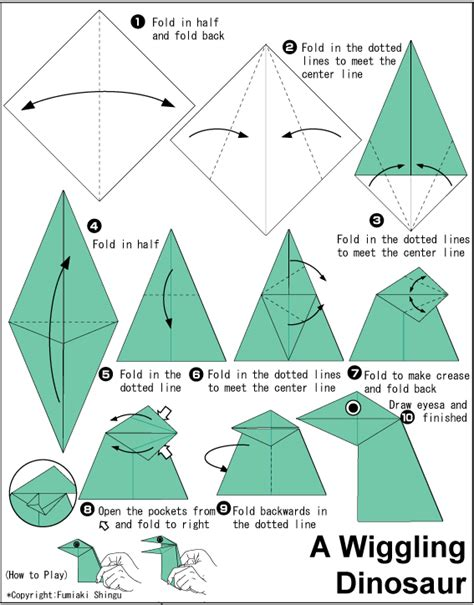 How To Make A Origami Dinosaur Step By Step - origami wiggling dinosaur origami origami