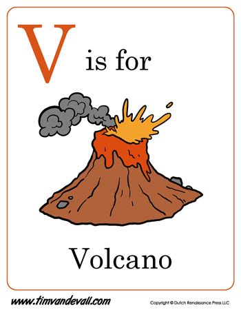 v is for volcano letter v coloring page pdf