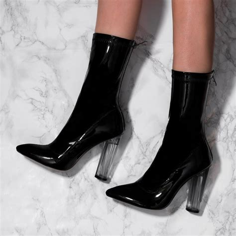 black patent high heel boots brey black ankle boots shoes from spylovebuy