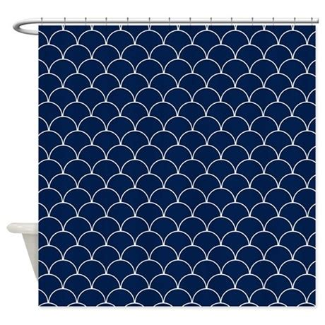 navy blue and white shower curtain navy blue and white scallop pattern shower curtain by
