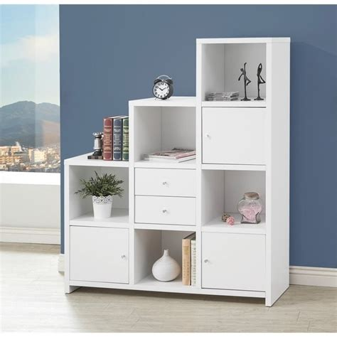 coaster asymmetrical bookshelf in white 801169