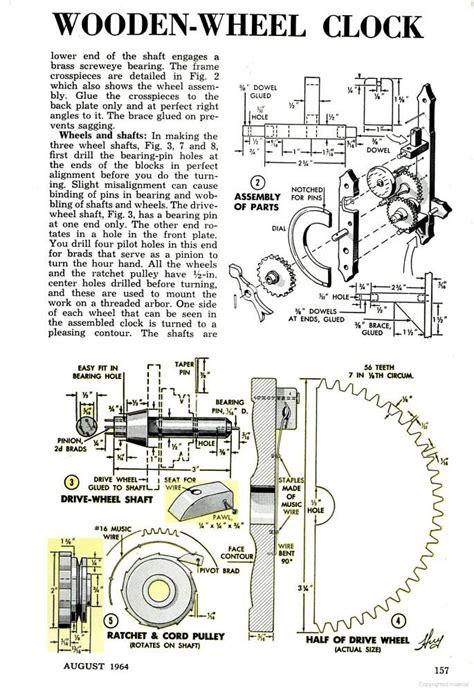 popular mechanics woodworking plans wooden gear clock august 1964 popular mechanics p 156