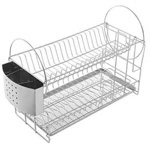stainless steel 2 tier kitchen countertop dish rack plate