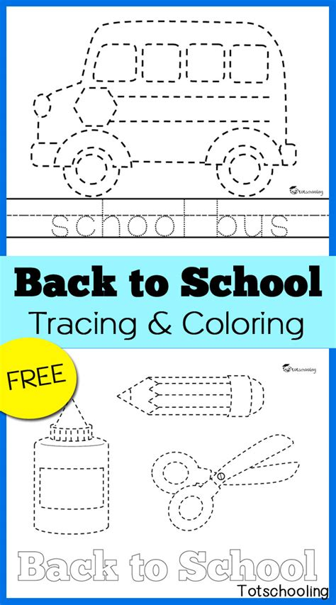 printable worksheets back to school back to school tracing coloring pages totschooling