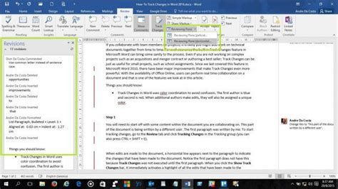 how to a to track how to track changes in word 2016 documents