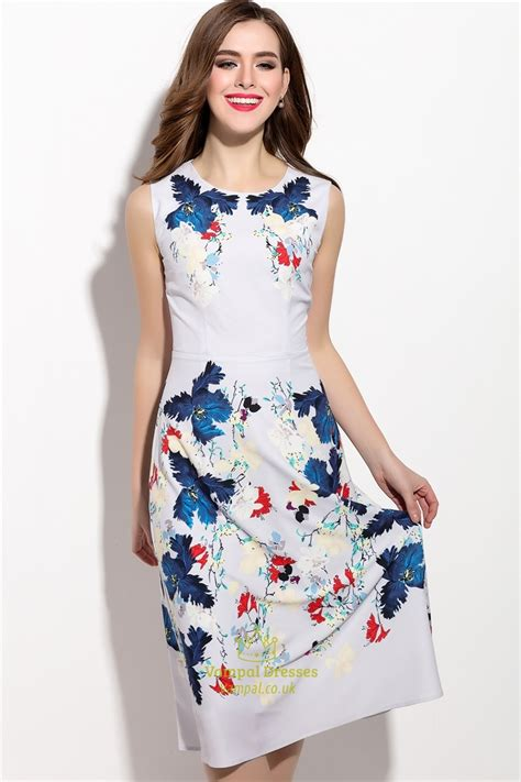 Floral Print Sleeveless Dress casual sleeveless floral print chiffon tea length dress