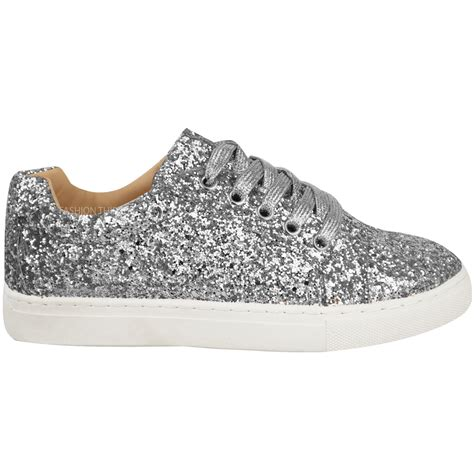 flat sparkly shoes womens flat lace up glitter sparkly trainers