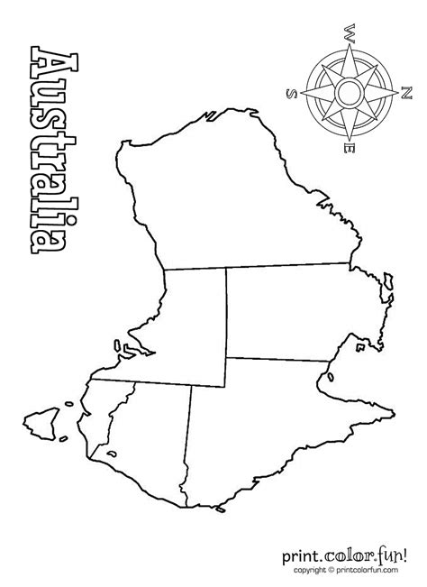 Free Australia Maps Coloring Pages Australia Map Coloring Page