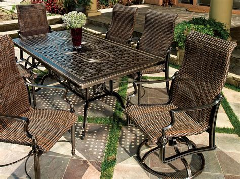 casual esszimmermöbel sets gensun bel air woven cast aluminum dining set