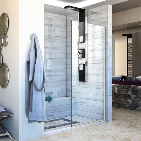Glass Panel Shower Door Shop Dreamline Linea 72 In H X 34 In W Clear Shower Glass Panel At Lowes