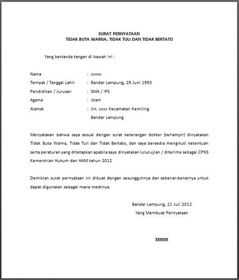 Contoh Surat Izin Buat Kesekolahan Tulis Tangan by Surat Pernyataan Tidak Buta Warna Tidak Tuli Dan Tidak