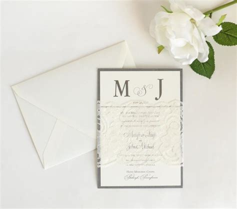 sheer initial wedding invitations lace wedding invitations classic wedding invitations