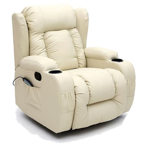 Caesar 10 In 1 Winged Leather Recliner Chair Rocking Leather Swivel Rocker Recliner Chair