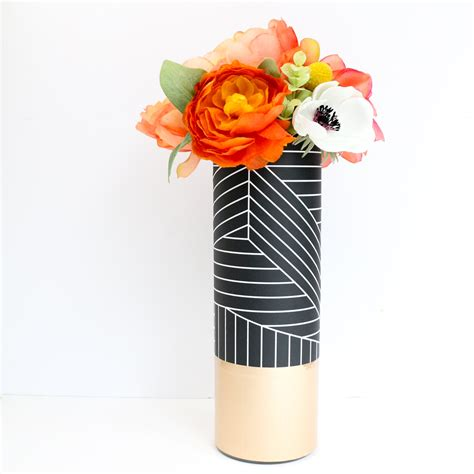 black and white pattern vase black and white graphic pattern wrapped flower vase with rose