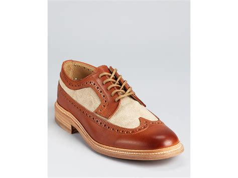 frye canvas wingtip dress shoes in brown for