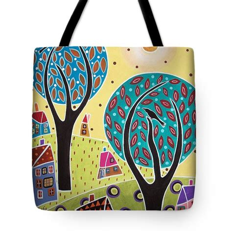 Two Birds Tote two trees two birds landscape painting by karla gerard