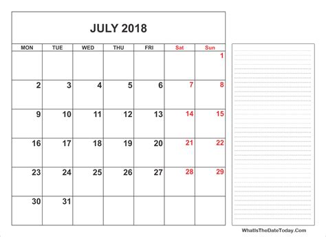 printable calendar with notes 2018 2018 printable july calendar with notes