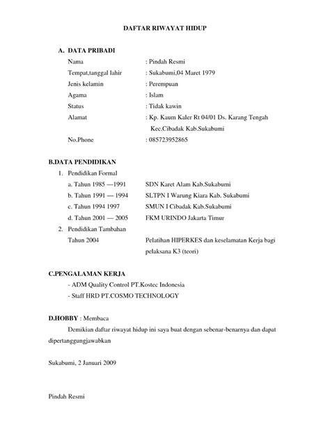 contoh format daftar riwayat hidup yang menarik contoh daftar riwayat hidup curriculum vitae cv