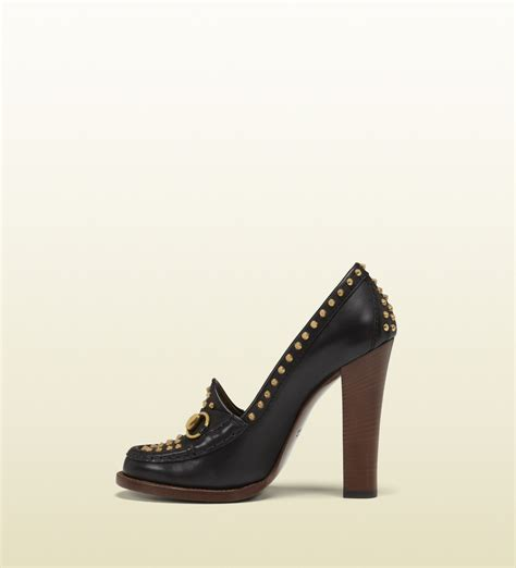 black loafers with gold studs gucci alyssa black leather highheel loafer with gold studs