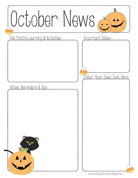 October Preschool Newsletter Template the crafty october newsletter template