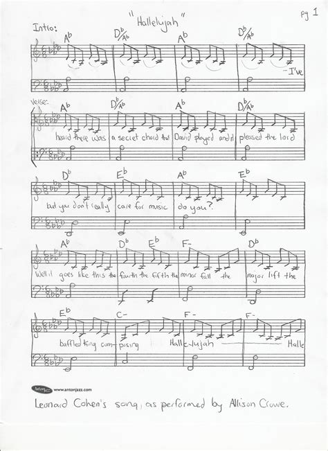 Leonard Cohen's words to Hallelujah Lyrics Sheet Music ... Leonard Cohen Hallelujah Song