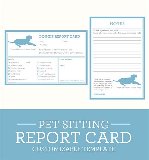 dog pet sitting report card customizable by