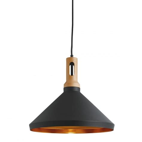 Contemporary Lighting Pendants A Contemporary Pendant With Black Outer Gold Inner And Wooden Finial