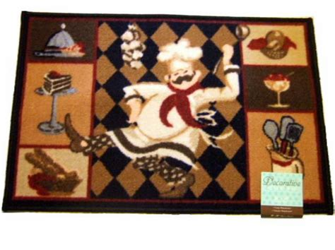 chef rugs add humor to your chef themed kitchen with this kitchen rug that features a chef