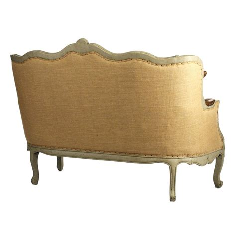 french settee loveseat adele french country top grain leather burlap settee