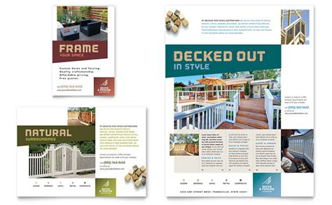 decks fencing flyer ad template design